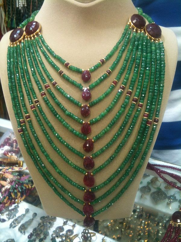 rubies and emeralds Stunning!  This would be gorgeous with a strapless gown.