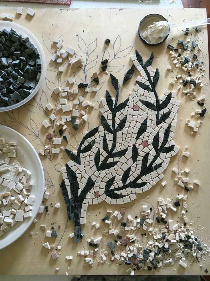 An orange tree in the making by Helen Miles Mosaics.