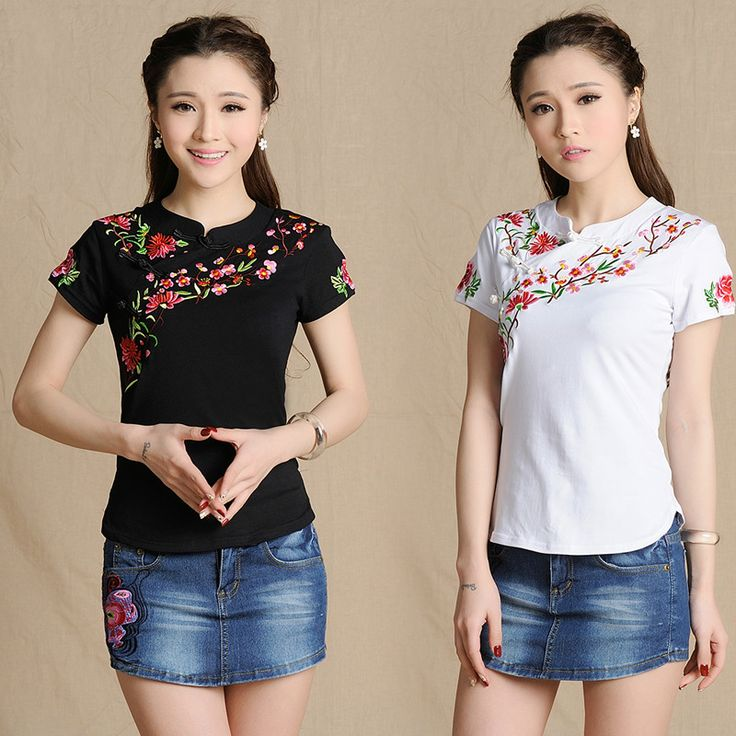 2016 New women vintage stand collar flowers embroidery blouse female short sleeve ethnic tee top 585E 25