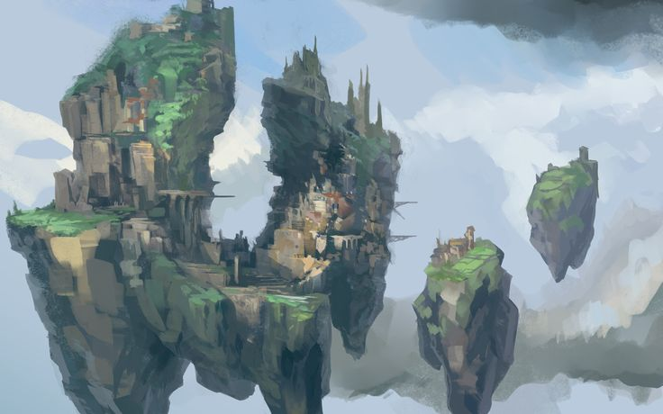 Quick paintings of fantasy island locations with more mature lighting. More floating islands! Yes!!! Copyright Jagex.