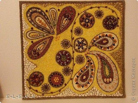 Картина панно рисунок Кухонное панно Крупа Семена Скорлупа яичная Шпагат фото 1