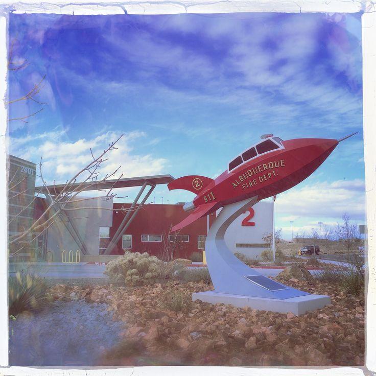 Albuquerque Fire Department New Mexico Red Rocket Sculpture