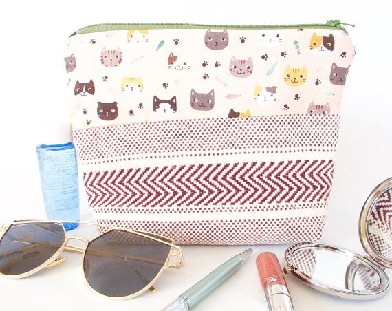 CAT BOHO Pouch. Cat Lover Gift. Cat Lover Bag. Cute Cat Makeup