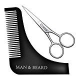Man&Beard  Beard Styling and Trimming Kit with Facial Hair Scissors  Beard Comb Template for Perfect Shaving Lines of Sideburns Cheeks Jaw Neckline Goatee and Mustache