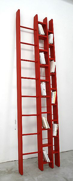ho bookcase ladder by jocelyn deris: available in two sizes that can hold 200-400CDs or DVDs or 100-200 books with the ladder to reach them also comes in white
