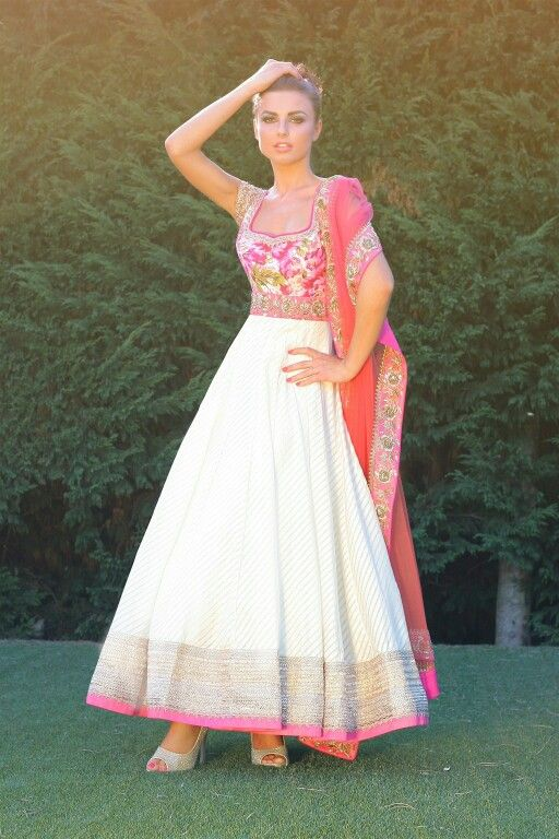 White and floral anarkali