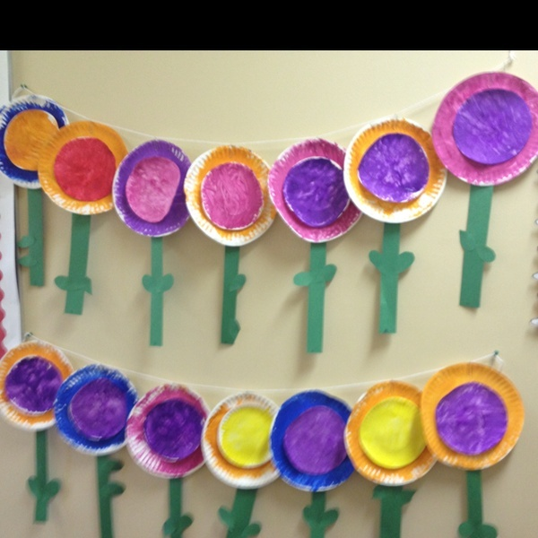 3 year old spring craft flowers made from a large and a for Easy crafts for 3 year olds