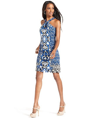 INC International Concepts Dress, Sleeveless Halter Exotic-Print Mini