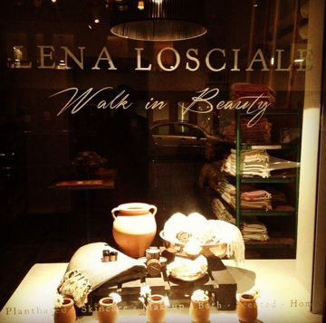 Window display. Lena Losciale store. Stockholm. plant based beauty.