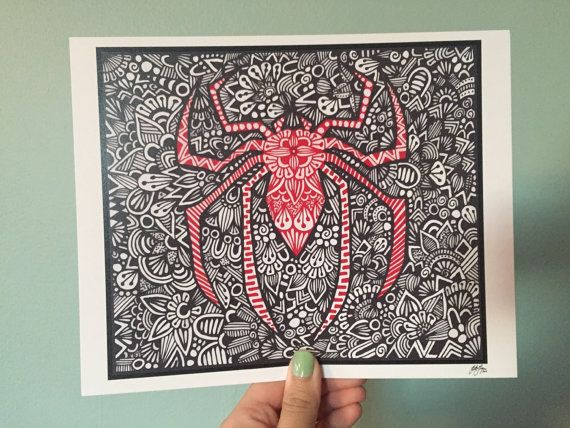 Zentangle  Spiderman por ZenspireDesigns en Etsy