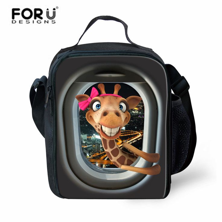 FORUDESIGNS Thermal Lunch Bags Funny Giraffe Printed Zipper Lunch Box Bags,High Quality Lunch Bag for Kids Small Lunch Tote Bag