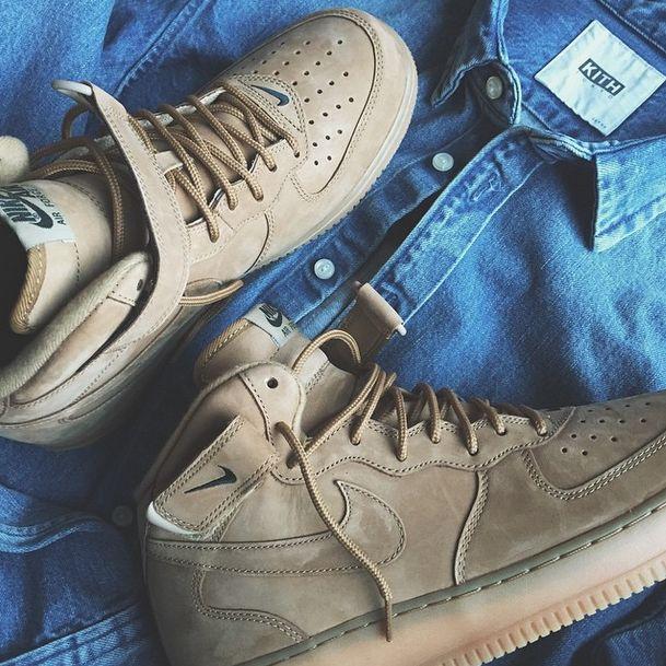 Nike Air Force 1 Mid B Flax Flax/Flax Outdoor Gr n