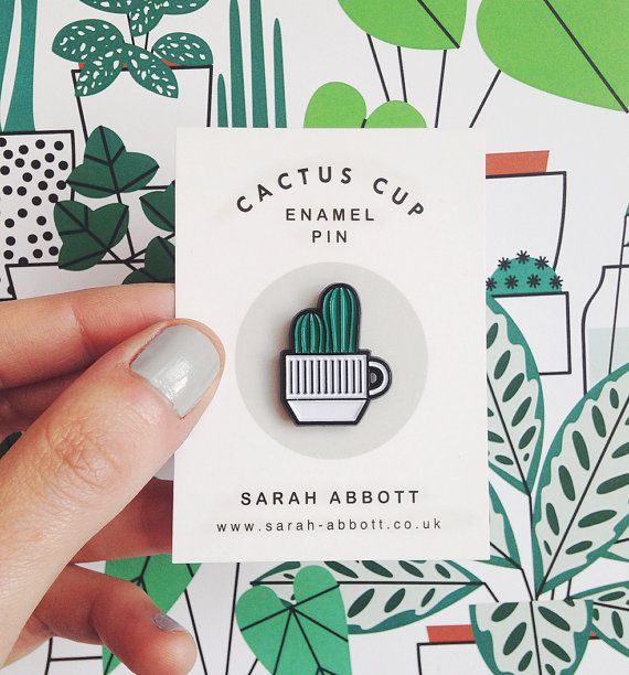 Cactus Cup Enamel Pin by watersounds on Etsy