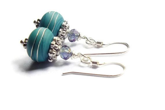 Teal Sterling Silver Earring DanglesTeal Czech by harmony5 on Etsy