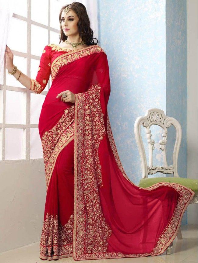 red-heavy-work-party-wear-designer-saree-
