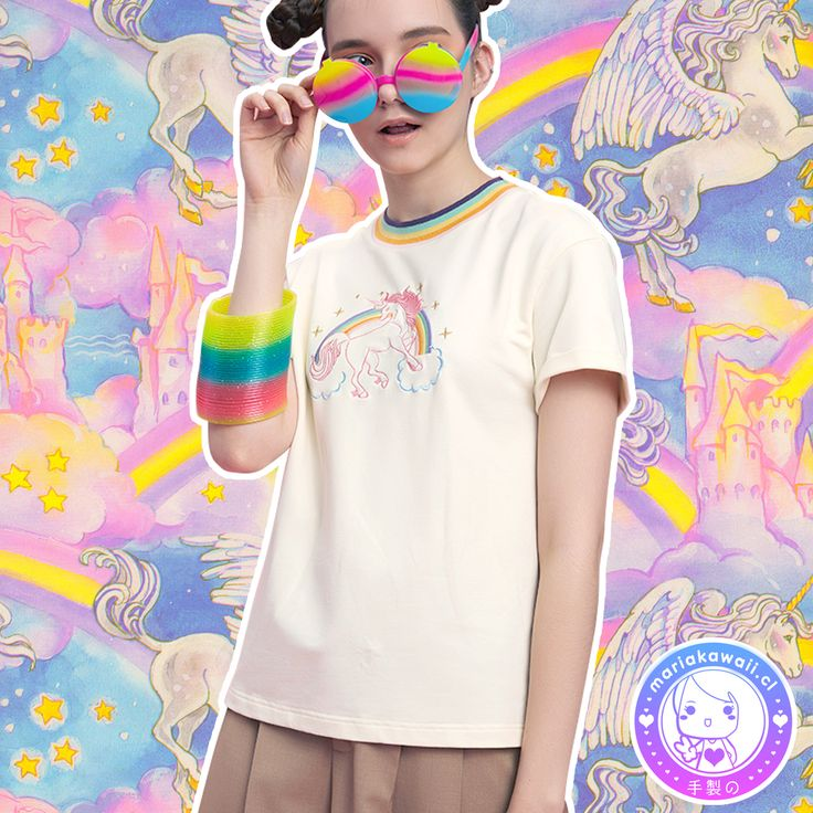 María Kawaii Store - Polera Bordado Unicornio Arcoiris