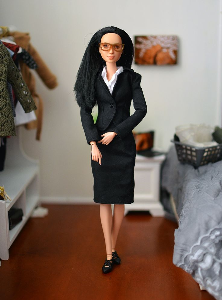 Dress for the job you want, right?    Eve wearing a black blazer, crisp white shirt, and a pencil skirt.      #OOAK Black Hair #MadetoMove #Barbie wearing Glasses Black Blazer White Dress Shirt #OfficeWear #Dollphoto #Barbiephoto