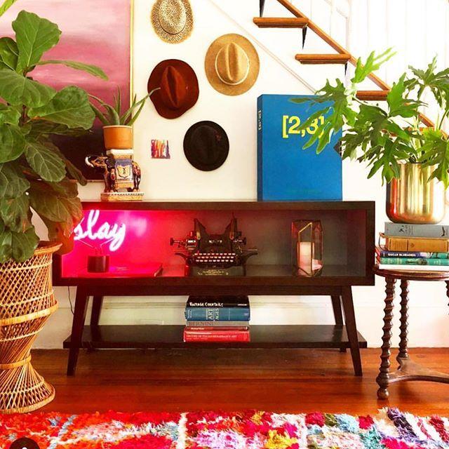 Slay Neon Desk Light Boho Living Room Decor Pink Furniture Gallery Wall Decor #neon #lights #for #living #room