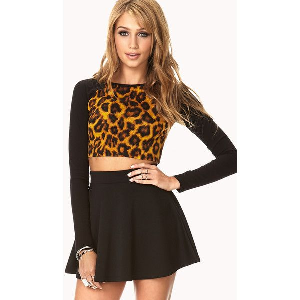 Forever 21 Women's  Untamed Leopard Crop Top (7.84 CAD) ❤ liked on Polyvore featuring tops, outfits, dresses, model outfits, models, raglan top, crop top, long crop tops, brown tops and round neck crop top