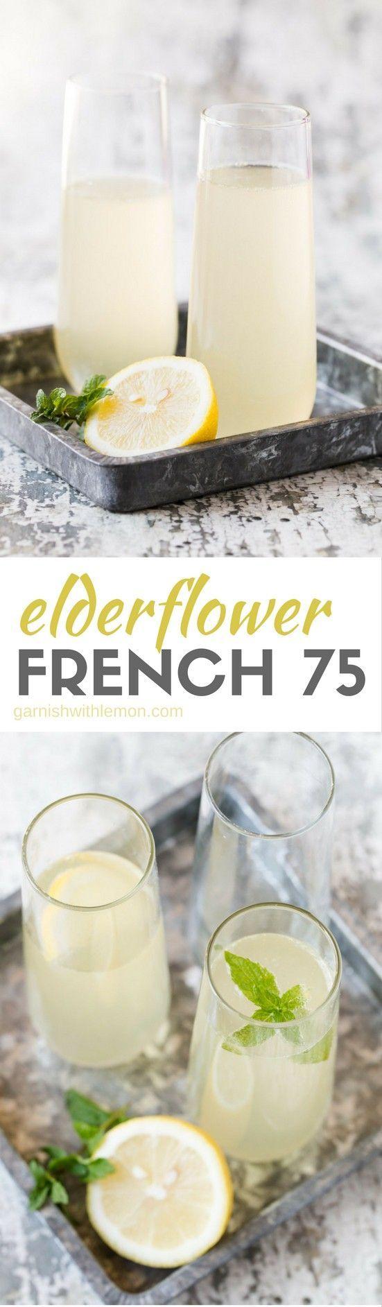 Bubbles just got even better with this easy Elderflower French 75 cocktail recipe. #elderflower #brunch #prosecco #proseccococktails #cocktails