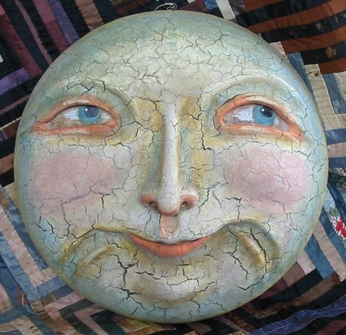 Bethany Lowe Halloween Man in the Moon Plaque Paper Mache