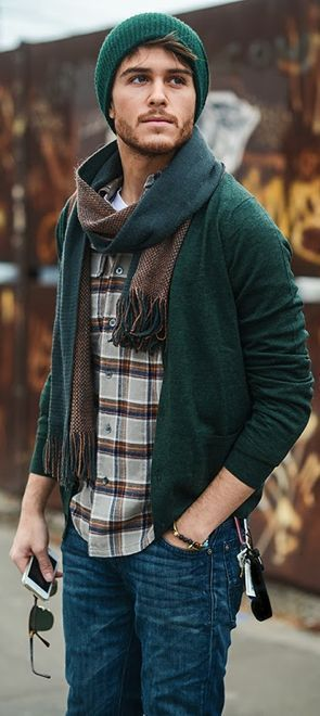 I love the complete look - denims, plaid shirt, jacket, scarf, beanie, shades and his beard.