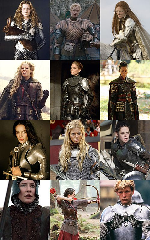 Practical Female warrior - notice that they are actually covered in protective armor, not decorated in useless bling! <- *claps* Eowyn is the ultimate female warrior. She's just fantastic. As for the rest - yes! I was /so/ bugged in Eragon that the lady had a little metal feather in her hair instead of a helmet. Ridiculous.