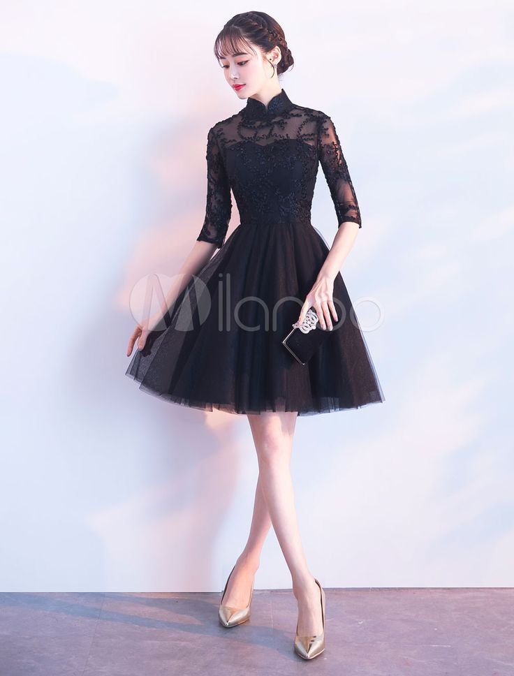 Short Prom Dresses Black Half Sleeve Lace Tulle Cocktail Party Dress