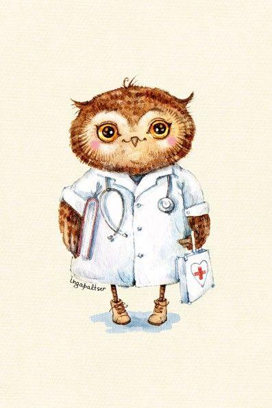 Схема вышивки сова-доктор
