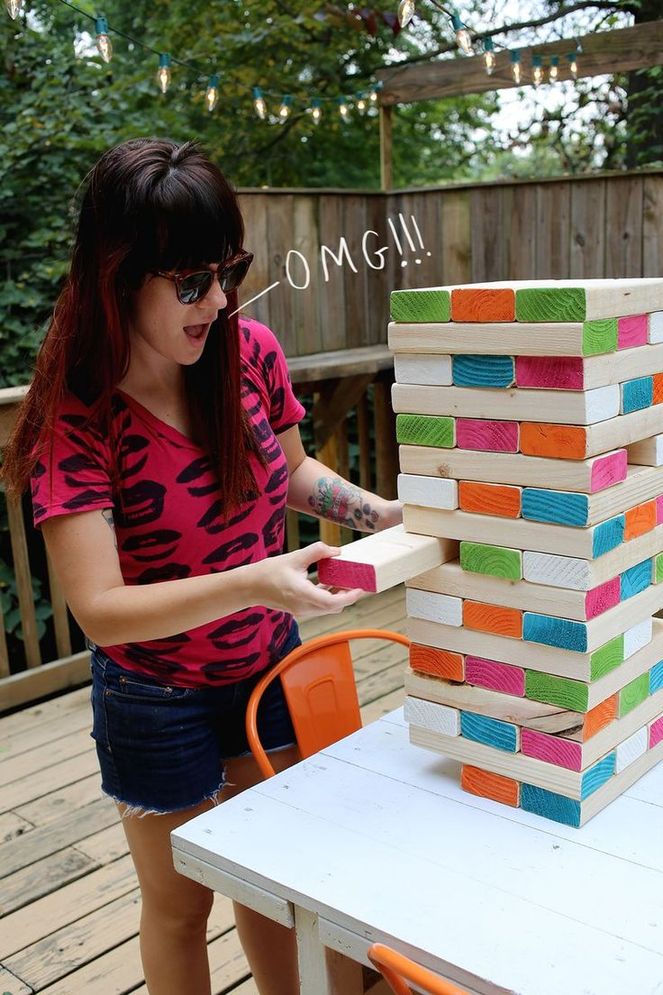 large jenga - you need enough 2x4s to cut into 48 - 10 1/2 pieces. Sand the ends and paint colors. May use polyurthane for other parts of boards.