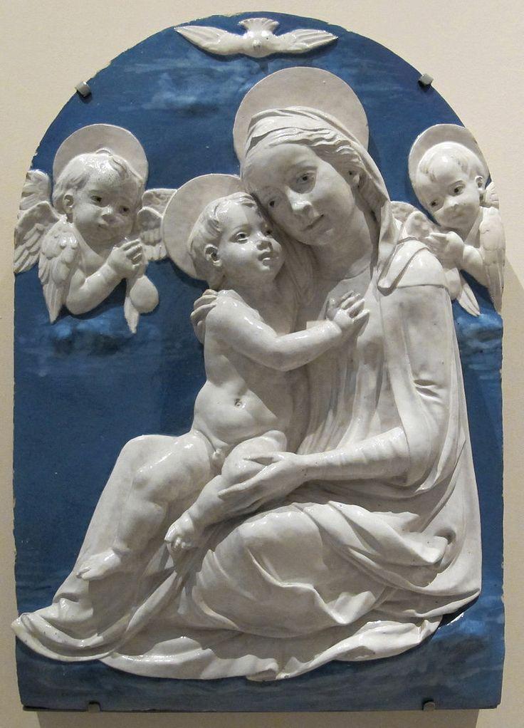 Andrea della robbia (bottega), madonna col bambino, serafini e colomba, 1500-1525 c