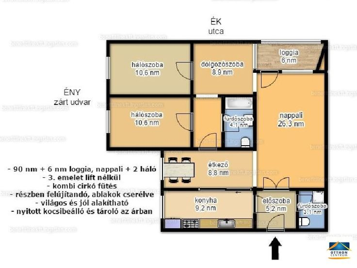 II. Kuruclesen, Hűvösvölgyi úton eladó egy 3. emeleti, csúsztatott zsalus építésű nettó 90 négyzetméteres +