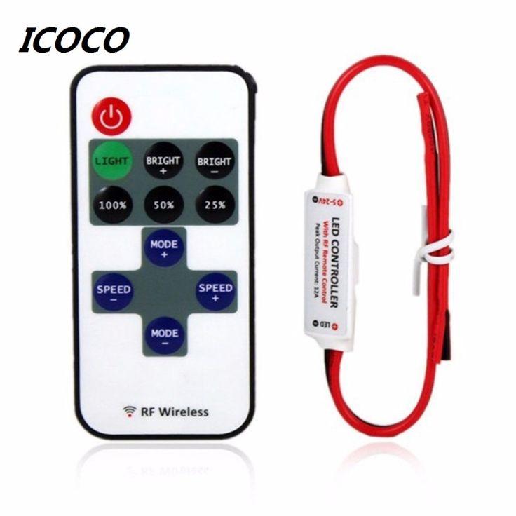 12 V RF LLEVÓ la Tira Luz Conmutador Inalámbrico Mini Controller Dimmer con Mando a distancia Mini En-línea de Luz LED controlador/Regulador Caliente