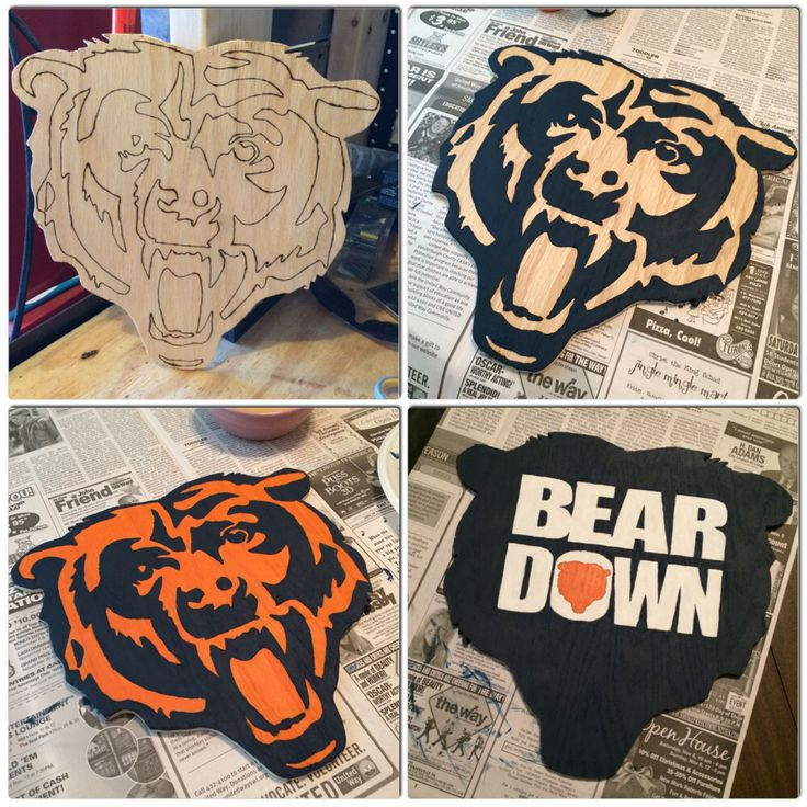 Chicago Bears wood cutout sign. Bear Down! DIY