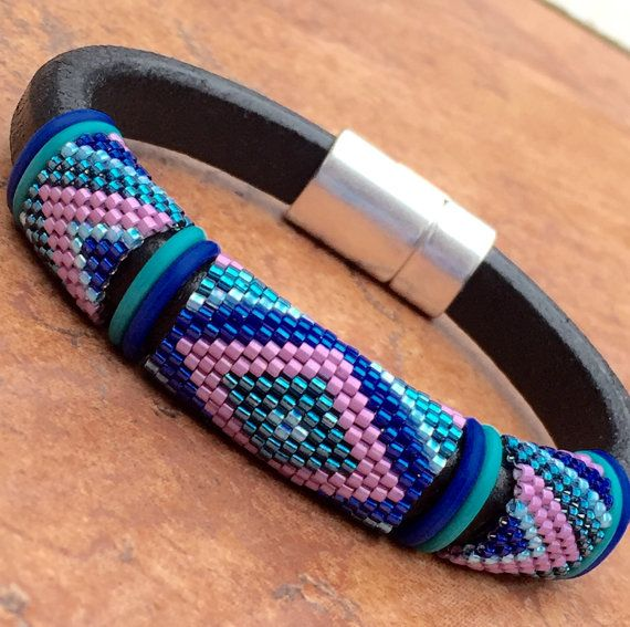 Leather and Glass Seed Bead Peyote Stitched Bangle Bracelet; Distressed Leather; Delicas; Rubber O-Rings; Magnetic Clasp