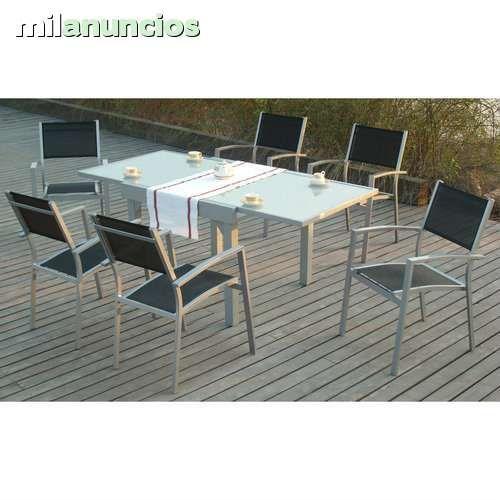 Mesa de jardin extensible 135x90x270 6 sillas en for Liquidacion mesas sillas jardin