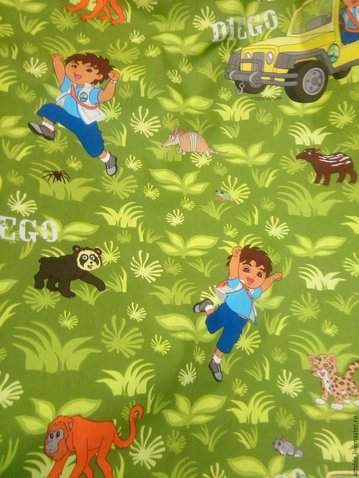 Купить Портьерная ткань сатин хлопок 349413 диего панда - зеленый, шторы для девочки, в детскую