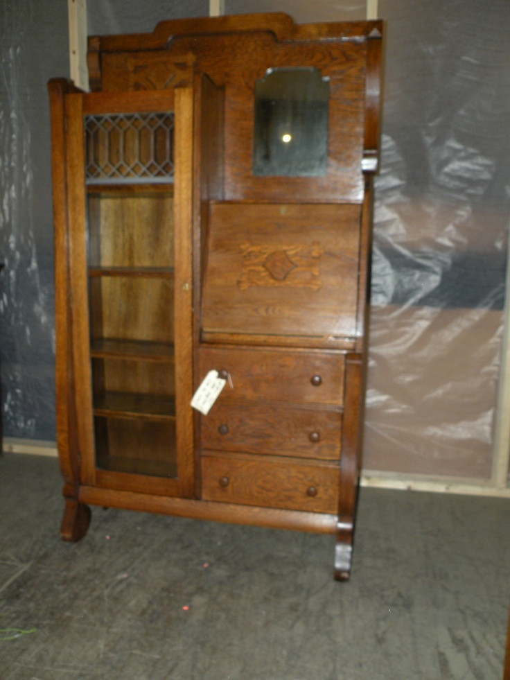 ANTIQUE OAK DROP FRONT SECRETARY DESK SIDE BY SIDE BOOKCASE DISPLAY CABINET  | eBay - 8 Best Side-by-side Desks Images On Pinterest Bookcases, Side By