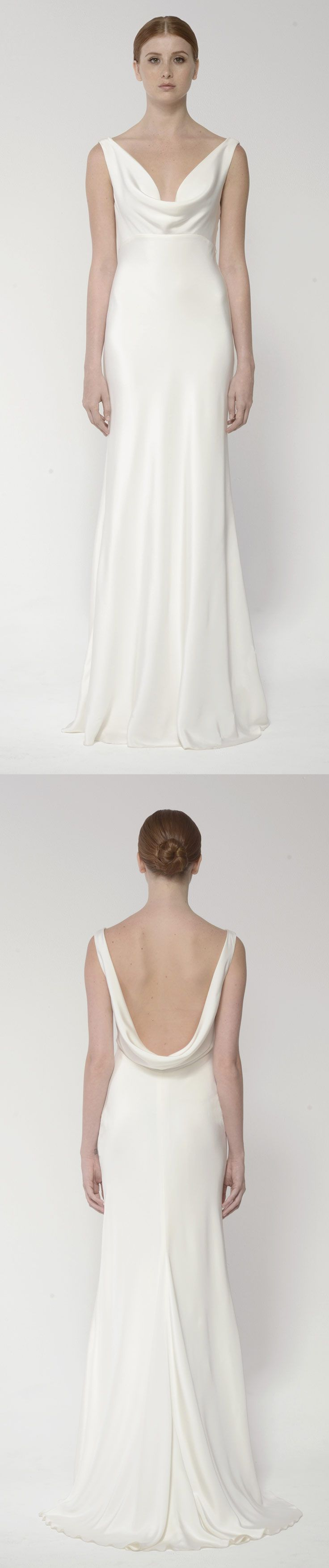 Silk gown with cowl neck and low scoop back, by Bliss Monique Lhuillier