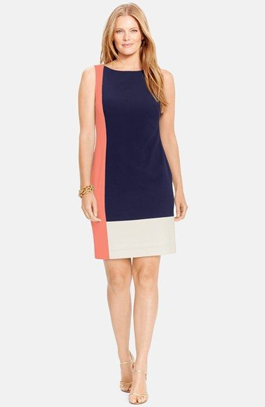 Lauren Ralph Lauren Colorblock Sleeveless Sheath Dress (Plus Size) | Nordstrom