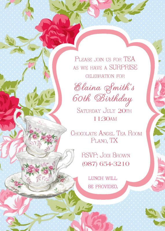 tea party invitation vintage shabby chic birthday party