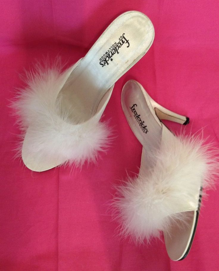 Fredericks of Hollywood Marabou Satin Slippers White Mules High Heels Sz 6. 332 best Bedroom Slippers  images on Pinterest   Bedroom slippers