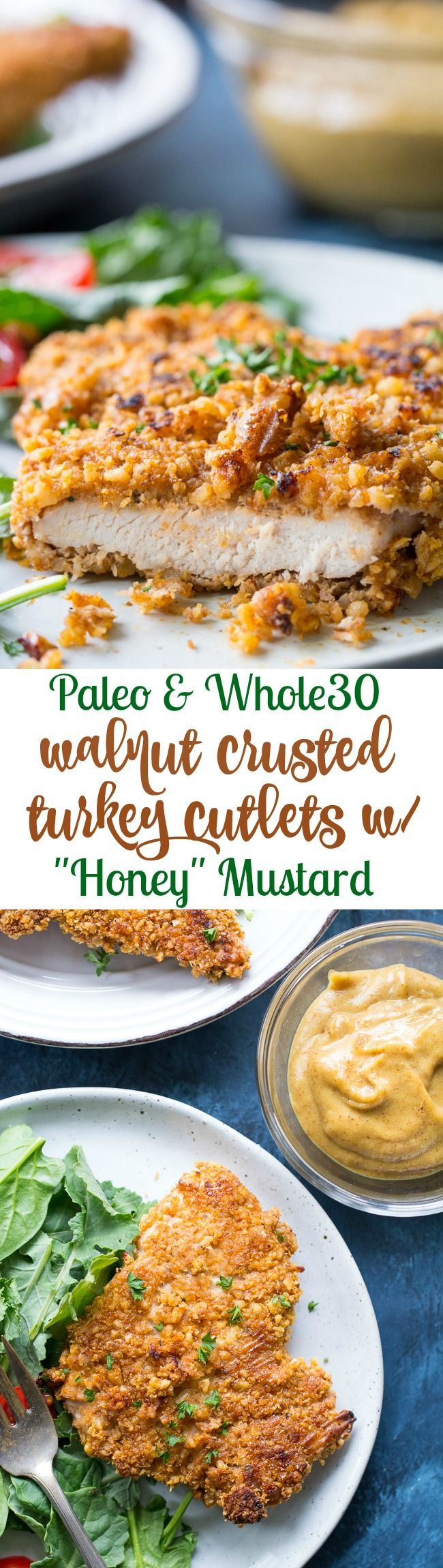 """These crispy walnut crusted turkey cutlets are baked with a date-sweetened """"honey"""" mustard sauce for a delicious and healthy Paleo and Whole30 friendly meal! Extra sauce for dipping makes these fun and kid-approved too.  (#AD) Made in partnership with @serveturkey for #TurkeyLovers Month."""