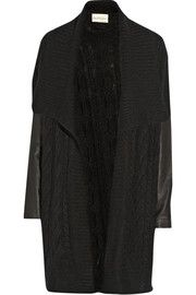 DKNYDKNYpure leather-sleeved cable-knit cardigan