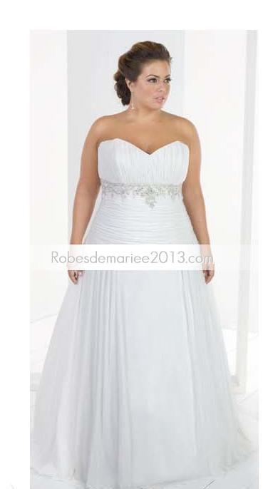 Chapelle exquise empire sweetheart perles Floor-length Taille Plus robe de mariée