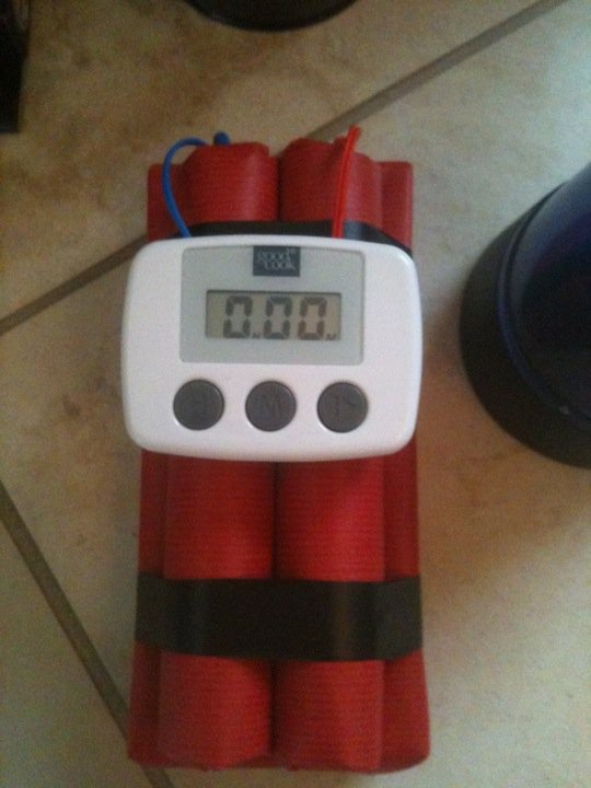 Secret Agent Spy birthday bomb made for their final task. Easy to make. Dollar store timer.