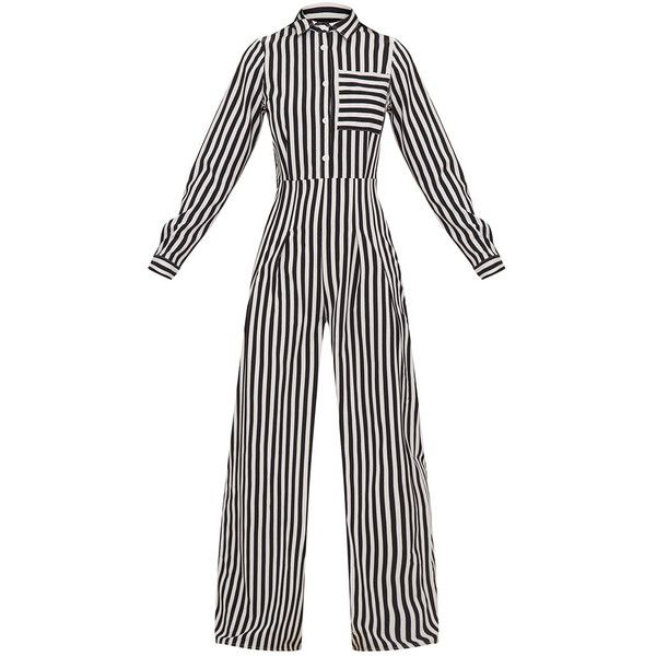 Black Button Striped Long Sleeve Through Jumpsuit ($55) ❤ liked on Polyvore featuring jumpsuits, long sleeve wide leg jumpsuit, striped jumpsuits, white jump suit, white long sleeve jumpsuit and wide leg jumpsuit