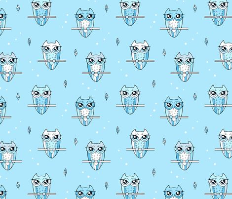 Owl and feather fabric by nossisel on Spoonflower - custom fabric