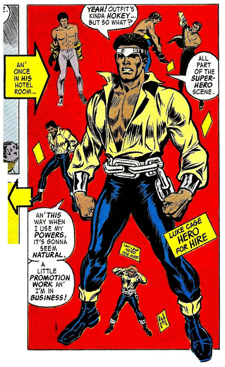 """Luke Cage, Hero For Hire #1 (June 1972) by George Tuska & Billy Graham - """"A little promotion work an' I'm in business!"""" #PowerMan"""