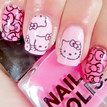 Hello kitty nails , Too Cute <3